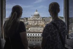Window on San Pietro (JWY80) Tags: castelsantangelo roma rome lazio italy it students tourists women morning stpetersbasilica sanpietro travel d750 nikon