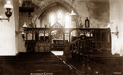 Manorbier Church (footstepsphotos) Tags: manorbier church interior james old vintage postcard past historic wales