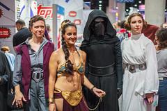 Three Leias and a Kylo (Kevin Baird) Tags: 2018 comiccon cosplay costume generalorgana kyloren princessleia sandiego sandiegocomiccon sdcc slaveleia starwars