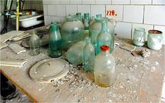 In the Pripyat Hospital (Aad P.) Tags: chernobyl чорнобиль pripyat припять ukraine україна sovietunion cccp nuclearpowerplant radioactivity radiation urbex urbexphotography exclusionzone hospital bottleswithchemicals medicines emptybottles