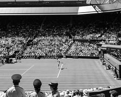 Federer. Wimbledon. 2 July 2018. (raymorgan4) Tags: wimbledon roger federer centre court tennis singles championship sw19 fujifilmx100f x100f acros blackandwhite monochrome old fashioned swiss switzerland major