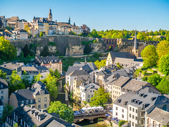 Luxembourg city (✦ Erdinc Ulas Photography ✦) Tags: luxembourg city europe houses landscape view building hill road bridge panasonic tree green church travel sky blue water people roof
