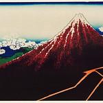 Sanka Hakuu by Katsushika Hokusai (1760-1849), meaning Shower below a summit, a traditional Japanese Ukyio-e style illustration of Mount Fuji. Digitally enhanced from our own original edition. thumbnail