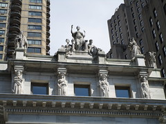 Four Seasons Caryatids - Court House Roof NYC 5448 (Brechtbug) Tags: seasonal caryatid mystery women l r winter spring autumn summer courthouse roof statues across from madison square park new york city atlantid 2018 nyc 07152018 art architecture gargoyle gargoyles statue sculpture sculptures facade figures column columns court house law government building seasons season buildings