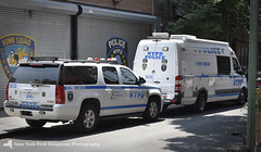 2015 NYPD Bomb Squad van and SUV at the 6th Precinct (nyfrp) Tags: new york ny nyc manhattan brooklyn city police department pd nypd nycpd policecar car ford interceptor utility fpiu fpis sedan taurus explorer bomb squad downtown west village tribeca