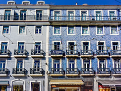 Lisbon, Portugal (Marian Pollock) Tags: lisbon portugal building europe tiles buildings balconies architecture windows doors blue patterns sky angles frontage