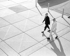 Black and White (azhukau) Tags: walzenvoy35 analog kentmere400 filmphotography film blackandwhite monochrome walking business men people adult highangleview urbanscene fulllength adultsonly onthemove commuter motion outdoors stree toronto canada shadows
