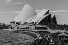 sydney opera house b&w (Greg Rohan) Tags: clouds sky monochrome bw blackwhite blackandwhite people water sydneyoperahouse operahouse australia sydney 2108 nikon nikkor d7200 architecture