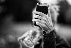 Drink Time (Svendborgphoto) Tags: bokeh bw blackandwhite blur monochrome manualfocus ais aisnikkor nikkor nikon nikkorais nikondigital nikond800 8514 f14 85mm phone drink people woman d800