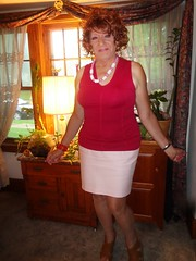 Not Too Bad For A Woman In Her Seventh Decade, Eh? (Laurette Victoria) Tags: skirt necklace redhead curly laurette woman