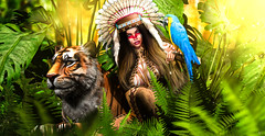 Native fauna (meriluu17) Tags: glamaffair belleepoque poseidon tiger native fantasy queen princess wild wildness nature forest jungle parrot animal people portrait fern light surreal