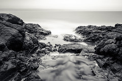 basalt relief (Port View) Tags: fujixe3 scotsbay novascotia ns canada cans2s 2018 spring coast shore basalt stream bay water fog mist rock rocky flow longexposure le blackandwhite bw