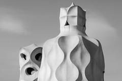 out of the world 神来之笔 (nzfisher) Tags: casamilà mila lapedrera architecture building roof chimney blackandwhite monochrome mono abstract curve gaudi barcelona spain travel holiday 85mm canon modernista