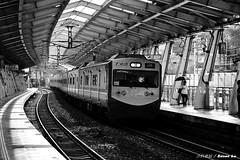 汐科車站 (Eason☞) Tags: 汐科車站 台鐵 車站 火車站 火車 列車 阿福號 區間車 客車 yankee station train 黑白 nikon nikond7200