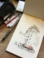 A quick doodle of a Paris café (alexhillkurtzart) Tags: sketch urbansketch cafe paris