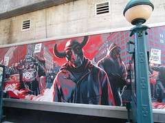 The First Purge Movie Poster Art 35th St 8th Ave NYC 5036 (Brechtbug) Tags: the first purge posters billboard horror film prequel standee billboards movie poster art rioting masked protesters mayhem 36th street near 8th ave amc theatre new york city 07072018 nyc 2018 graffiti looking arts mural subway entrance mask costume costumed post apocalyptic political satire politics violence violent humor riot riots gang mob hunting people down hunt version most dangerous game battle royal crime criminals terror terrorists terrorist