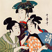 Three Young Men or Women by Utamaro Kitagawa (1753-1806), an ambiguous print of three traditional Japanese women or men dressed with colorful clothings in different styles. Digitally enhanced from our own original edition.