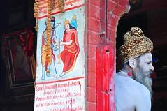 Nepal- Katmandu (venturidonatella) Tags: nepal asia katmandu portrait ritratto gentes people persone sadhu santone colori colors nikon nikond300 d300 induismo indu emozioni colonna dipinto paint rosso red