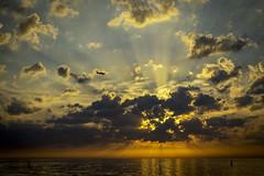 Spot the flight into the sunset (Hans Hamilton) Tags: ludington pentaxart usa midwest michigan airplane lakemichigan