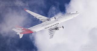 Qantas Airbus A330-303 Reg. VH-QPI 'Cairns' climbing through cloud enroute to Tokyo