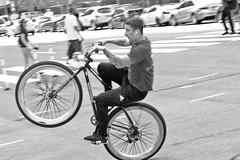 Wheelie Sir (damonabnormal) Tags: bw phl philly philadelphia urban urbanphotography monochrome fujixt2 xt2 cities bike bicycle wheelie one way