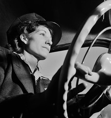Portrait of a woman training to operate buses and taxicabs, 1942. (polkbritton) Tags: 1940s wwiihomefront vintagefashion worldwarii fsaowi libraryofcongresscollections