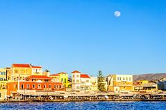 Chania, Crete (Kevin R Thornton) Tags: d90 crete travel harbour mediterranean architecture city moon landscape greece chania nikon creteregion gr