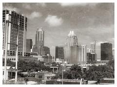 Shotgun view of Austin (photo.po) Tags: monochrome blackandwhite architecture buildings overpass cityscape austin texas
