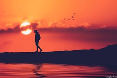 Don't trust (gusdiaz) Tags: photoshop photomanipulation composite composition digital art arte artistico hiker walker silhouette atardecer amanecer caminante sol sun nubes agua reflection reflejo colorful colorido summer verano relaxing relajante