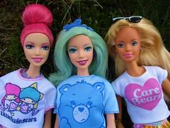 Best Friends (flores272) Tags: barbie doll dolls toy toys barbiedoll barbiefairy fairytopia barbieclothing outdoors carebears hellokitty mintgreenhair pinkhair