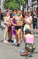 Pride in London 2018 (Waterford_Man) Tags: prideinlondon2018 lgbt lesbian gay bi trans people bare midriff midrift girls hot path shorts