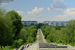 Rivne, Ukraine (mercuryriser2005) Tags: travel vacation ukraine rivne buildings skyline sky clouds trees forest nature walkway stairs architecture park city