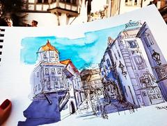 Für einen Moment die Farben spielen lassen... (prisi_aroundtheworld) Tags: wasserfarben skizze urbansketching urbansketchers switzerland schweiz stgallen sketch sketching
