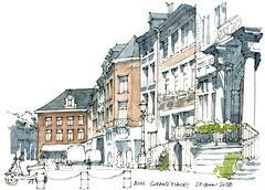 Ath, un arrêt sur la Grand-Place. (gerard michel) Tags: belgium hainaut ath grandplace sketch croquis architecture aquarelle watercolour wallonie