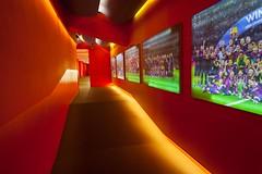 hall of glory (nzfisher) Tags: campnou barcelona barca interior hall hallway corridor red orange football soccer 24mm canon holiday travel spain fcbarcelona