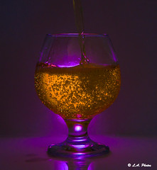 Bubbles. (Lee1885) Tags: glass purple light brandyglass flash bubbles amber still water liquid pour