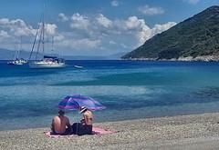 Samos beaches - Kerveli (sandaodiatiu) Tags: aegeansea kervelibeach sky clouds sailboat yacht bay pebbles