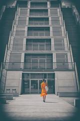 SHE (michael_hamburg69) Tags: germany hamburg deutschland dockland hafen bürogebäude büro office building parallelogramm schiff woman stairs treppe orange dress kleid