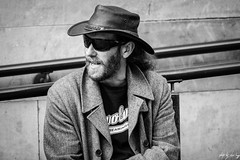 Street Portrait (Cycling Road Hog 2018) Tags: beard blackwhite candid canoneos750d citylife colour efs55250mmf456isstm edinburgh fashion hat man monochrome people places royalmile scotland shades street streetphotography streetportrait style urban