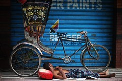 There'll Be Nothing Left In The World To Trust (N A Y E E M) Tags: man rickshaw sleep morning colors pavement street shop bergerpaints norahmedroad chittagong bangladesh carwindow
