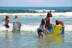 Kids Going Boogie-Boarding (Joe Shlabotnik) Tags: july2018 carolina higginsbeach 2018 violet beach boogieboard helent everett gabriella maine ocean afsdxvrzoomnikkor18105mmf3556ged
