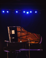 Piano on Stage (dejankrsmanovic) Tags: piano big stage concert performance opened miked microphone concept object empty nobody conceptual stilllife night venue entertainment classical classic light illuminated structure simple sparse model old black dark