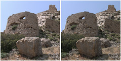 The Watchtower, Apano Kastro - stereo crossview (Barrie_r) Tags: stereo 3d crossview naxos foundfaces