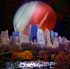 Planet over Central Park (Iforce) Tags: wallpaper landscape central park new york stars planets planet star ice skating manhattan wow amazing photo fantasy cosmos universe imagine art night usa photomontage sky digital space