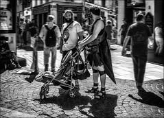 L'enfant en poussette..../ Child in stroller... (vedebe) Tags: netb noiretblanc nb bw monochrome humain human people homme ville city street rue urbain urban urbanarte avignon enfant ombres ombre