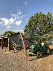 6 Tearing down the fence (Chuckcars) Tags: wood fence tractor jd deere barn removal polebarn cedar morning colorado iphone8