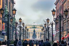 Small Garden Street (kvl23) Tags: winter russia sky clouds city street outdoors stpetersburg malayasadovayaulitsa nevskyprospekt lamp lamps houses snow