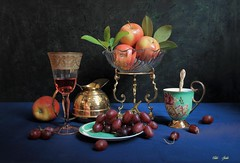 This Time (Esther Spektor - Thanks for 12+millions views..) Tags: stilllife naturemorte bodegon naturezamorta stilleben naturamorta composition creativephotography tabletop food fruit apple grape cluster goblet wine cup pitcher plate stand bowl glass porcelain metal brass pattern ambientlight reflection green red blue cobalt golden burgundy estherspektor canon