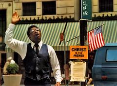 New York: the answer (Henk Binnendijk) Tags: saintsandsinners saints devils holy death heaven hell manhattan newyorkcity usa american americana preacher street 1981 christ jesus