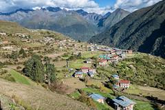 The village of Laya surrounded by mountains - Gasa District - Snowman Trek - Bhutan (PascalBo) Tags: nikon d500 asie asia southasia asiedusud drukyul drukgyalkhap bhutan bhoutan འབྲུག་ཡུལ། འབྲུག་རྒྱལ་ཁབ་ snowman trek trekking hike hiking lunana gasa himalaya himalayas jigmedorjinationalpark laya village mountain montagne outdoor outdoors pascalboegli
